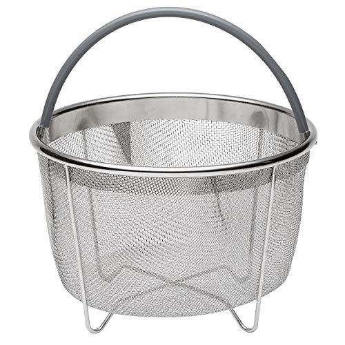 717-Instant-Pot-Accessories-Steamer-Basket-Stainless-Steel-Mesh-Strainer-for-Instant-Pot-and-Other-Pressure-Cookers-Fits-6-and-8-Quart-Pots-Grey-Silicone-Handle