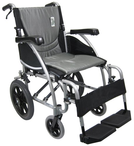 Karman Transport Wheelchair with Companion Brakes, 16 inch Seat and 14 inch Rear Wheels, Silver Frame