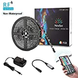 LED Strip Lights, Nexlux 16.4ft 5050 SMD RGB LED Strip Light Black PCB Board Color Changing Decoration Lighting 44 Key RF Remote Controller+ UL Approved Power Adapter