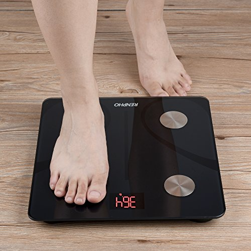 51Wg6IBiCrL - RENPHO Bluetooth Body Fat Scale Smart BMI Scale Digital Bathroom Wireless Weight Scale, Body Composition Analyzer with Smartphone App 396 lbs - Black
