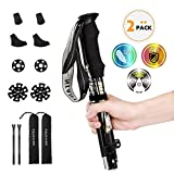 NIANYISO Hiking Poles Collapsible Lightweight for Height 5'3'-6'3', 2 Pack Adjustable Trekking Poles Aluminum Hiking Walking Sticks Anti Shock Walking Poles with Rubber Tips Handle for Women