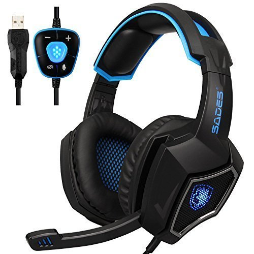 USB Stereo Gaming Headset PC, SADES L9Plus 7.1 Virtual Surround Sound Noise Isolation Over Ear Headphones with Mic, LED Light, Deep Bass, Soft Memory Earmuffs for Laptop Desktop Computer (Black Blue)