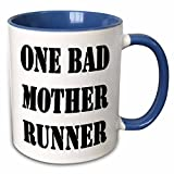 3dRose 161096_6 One Bad Mother Runner Two Tone Mug, 11oz, Blue