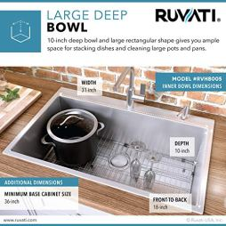 Ruvati-33-x-22-inch-Drop-in-Tight-Radius-16-Gauge-Stainless-Steel-Topmount-Kitchen-Sink-Single-Bowl-RVH8005