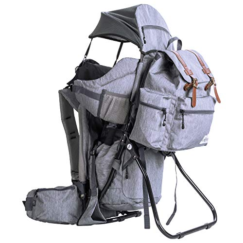 Clevr Urban Explorer Hiking Baby Backpack Child Carrier, Heather Gray - Lightweight with Stylish Detachable Bag & Sun Cover for Cross Country Hikes | 1 Year Limited Warranty
