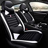 TUNBG Car Seat Covers Full Set, Anti-Slip Universal Fit PU Leather 5 seat Auto Car Seat Cushion Covers Protector for Men/Women, SUV, Midsize Sedan, Airbag Compatible,Blue,White