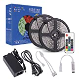 RC LED Strip Lights 32.8ft, High Sensibility 17Key RF Remote and Controller, IP65 Waterproof RGB Light Strip Flexible SMD5050 300LEDs with 12V 5A Power Adapter
