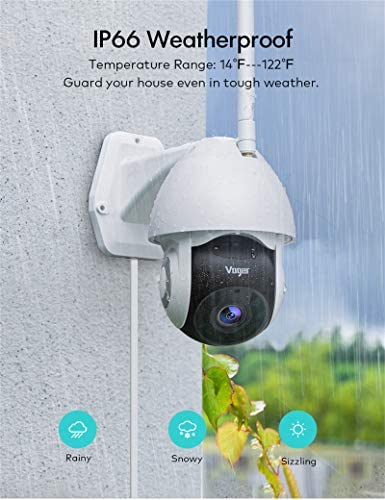 Security Camera Outdoor, Voger 360° View WiFi Home Security Camera System 1080P with IP66 Weatherproof Motion Detection Night Vision 2-Way Audio Cloud Camera Works with Alexa and Google Home 15