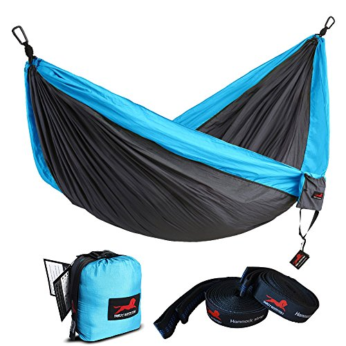 """HONEST OUTFITTERS Single Camping Hammock with Basic Hammock Tree Straps,Portable Parachute Nylon Hammock for Backpacking Travel Grey/Blue 55"""" W x 108"""" L"""