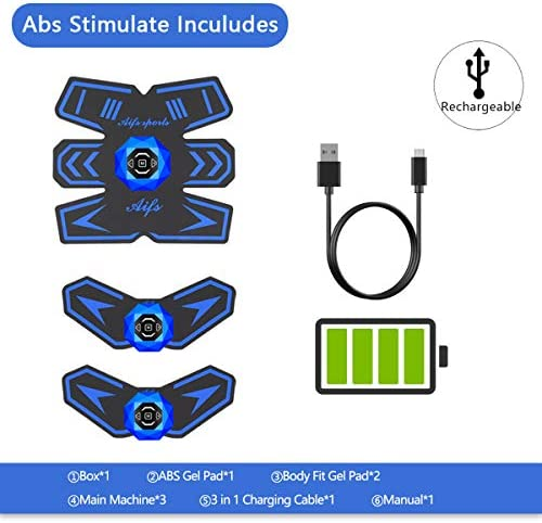 Abs Stimulator Ab Stimulator Recharge Muscle Toner Trainer Ultimate Abs Stimulator for Men Women Abdominal Work Out Ads Power Fitness Abs Muscle Training Gear ABS Workout Equipment Portable 8