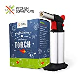 Professional Culinary Torch (Butane) Kitchen Cooking Tool for Searing Food, Meat, Crème Brulee   Adjustable Flame, Safety Lock   Chef Craftsmanship, Home Use