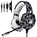 ONIKUMA Xbox One Gaming Headset, PS4 Headset with 7.1 Surround Sound, Noise Canceling Over-Ear Headphones with Mic, Soft Memory Earmuff for PS4, PC, Xbox One Controller PS2 Nintendo Switch