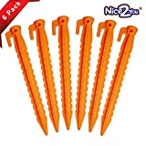 Nice2you Stakes with an Anchor - Apply to Outdoor Bounce House & Tents / Durable Plastic Pegs, Safety Orange (8.8 inch Pack of 6) - Compatible to Sand Beach Lawn Camping