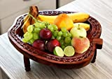Store Indya Apple Shaped Wooden Fruit Basket Stand for Display Storage Collapsible Tabletop Kitchen Accessory