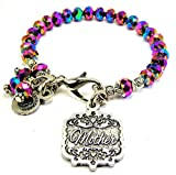 Chubby Chico Charms Mother Victorian Scroll Splash of Color Bracelet in Multi Color