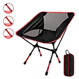 GOSTAR Portable Outdoor Camping Seating Chair with Adjustable Height, Ultralight Folding Backpacking Chairs in a Carry Bag, Support 330 lb Capacity (Red)
