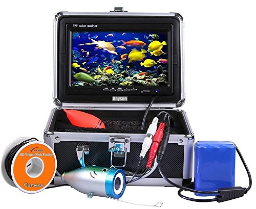 Anysun Underwater Fish Finder - Professional Fishing Video Camera with 7' TFT Color LCD HD Monitor 700TVL, CCD 15M Cable Length with Carry Case - Fun to See Fish Biting