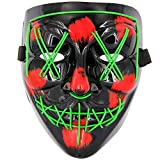 MeiGuiSha LED Halloween Purge Mask,Halloween Scary Cosplay Light up Mask for Festival Parties(Green)