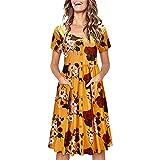 Boho Button Up Split Beach Party Dress,Londony Women's Summer Deep V Neck Leaf Printed Ruffle Hem Split Wrap A Skirt Yellow