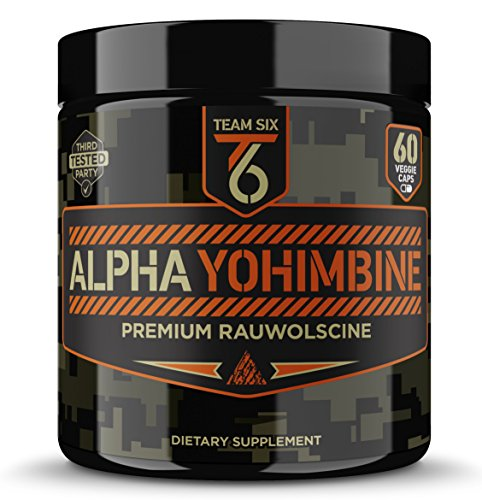 Team Six Supplements Alpha Yohimbine - Proven Yohimbe Bark Fat Burner, Weight Loss Pills That Work Fast - 3rd Party Tested for Purity and Potency, 60 veggie capsules