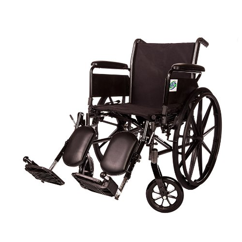 Lightweight Folding Wheelchair Detachable Full Arm and Removable/detachable Elevating Legrests By Healthline (16' FULL ARM)