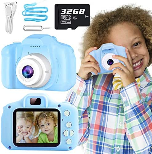 Nobie vivid Kids Camera, Kids Selfie Camera Camcorder 2.0 Inch IPS Screen with 32GB Card, HD Digital Video Camera for Kids, Children Christmas Birthday Gift (Blue)
