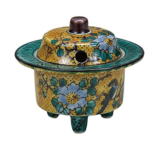 Jpanese traditional ceramic Kutani ware. porcelain Koro. Yoshidaya. With wooden box. ktn-K5-1443