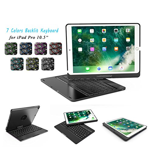 iPad Pro 10.5 Keyboard Case-Naswei Backlit Wireless Bluetooth Keyboard with 360 Rotation Slim Smart Hard Shell Aluminum Alloy Case Folio Protective Cover for Apple iPad Pro 10.5 - Black