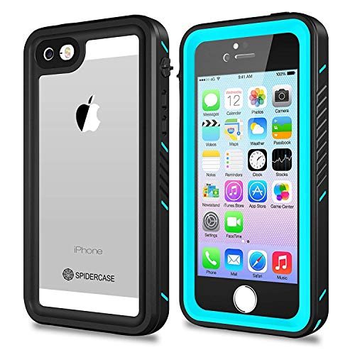 iPhone 5/5S/SE Waterproof Case,SPIDERCASE Full Body Protective Cover Rugged Dustproof Snowproof IP68 Certified Waterproof Case Touch ID iPhone 5S 5 SE (Blue&Clear)