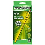 Ticonderoga Pencils, Wood-Cased, Graphite #2 HB Soft, Yellow, 48-Pack (13922)