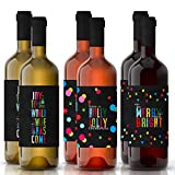 Festive Christmas Wine Bottle Labels - Set of 6 Merry and Bright Holiday Party Gift Supplies