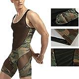 Men's Camouflage Tank top One Piece Wrestling Singlet Bodysuit Leotard Underwear, XXL
