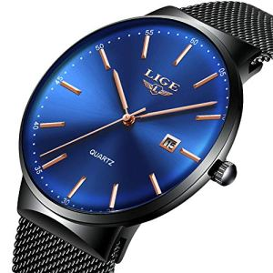 Mens Watches,LIGE Watches Men Fashion Sports Waterproof Stainless Steel Mesh Wristwatch Men Bussiness Dress with Date Full Blue Analog Quartz Watch Man … 25 Fashion Online Shop gifts for her gifts for him womens full figure