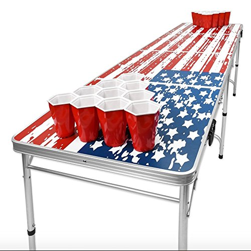AMGS Beer Pong Table for Outdoor Indoor Party Portable Tailgate Football Gaming Design & e-book by Amglobalsupplies