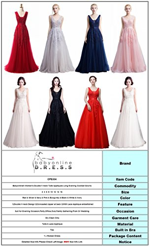 f06f2377884 Babyonline Women s Double V-neck Tulle Appliques Long Evening Cocktail Gowns