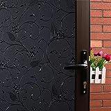 Mikomer Wheat Flower Total Blackout Window Film, Light Blocking Glass Door Film,Room Darkening Window Cling,No Glue/Heat Control/Anti UV for Day Sleep & High Privacy,17.5In. by 78.7In.