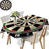 Indoor/Outdoor Tablecloth,Dart Board Numbers Sports Accuracy Precision Target Leisure Time Graphic Table Cover for Dining Room and Party,41W x 80.5L Inches Charcoal Grey and Pale Grey