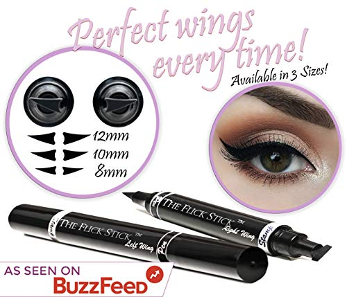 Winged Eyeliner Stamp - The Flick Stick by Lovoir Black, Waterproof Make Up, Smudgeproof, Long Lasting Liquid Eye liner Pen, Vamp Style Wing, 2 Wingliner Pens In A Pack (10mm Classic, Midnight Black)