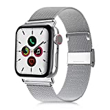 VATI Compatible with Apple Watch Band 38mm 40mm, Stainless Steel Mesh Loop Sport Wristband with Adjustable Magnet Replacement Band Compatible for Apple Watch Series 5, iWatch 4/3/2/1, Silver