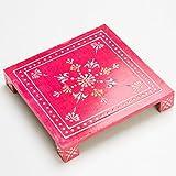 Rusticity Wooden Pooja Chowki/Altar Table | Handmade | (8x8x1.2 in)