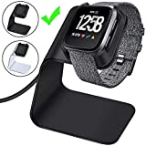 CAVN Charger Dock Compatible with Fitbit Versa/Versa Lite, Premium Aluminum Charging Cable Cord Station Cradle Base Attached 4.2ft USB Stand Cable Smartwatch Accessories, Black
