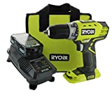 Ryobi P1811 One+ Compact Drill / Driver Kit (5 Piece Bundle: 1x P208 Drill / Driver Power Tool, 2x P102 18 Volt Battery, 1x P118 18 Volt Battery Charger, 1x Lime Green Ryobi Tool Bag)