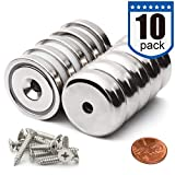 Super Power Neodymium Cup Magnets with 95 LBS Pull Capacity Each, 1.26 inch x 0.3 inch - Pack of 10