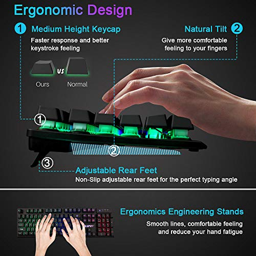 NPET-K10-Gaming-Keyboard-USB-Wired-Floating-Keyboard-Quiet-Ergonomic-Water-Resistant-Mechanical-Feeling-Keyboard-Ultra-Slim-Rainbow-LED-Backlit-Keyboard-for-Desktop-Computer-PC