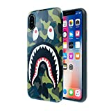 iPhone X /10 Shark Face Case Street Fashion: Luxury Flexible Durable Designer Protective TPU Cover/Bumper/Skin/Cushion only for 5.8' iPhone X (Camo Green)