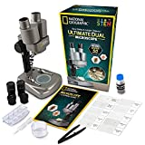 NATIONAL GEOGRAPHIC Dual LED Student Microscope – 50+ pc Science Kit Includes Set of 10 Prepared Biological & 10 Blank Slides, Lab Shrimp Experiment, 10x-25x Optical Glass Lenses and More! (Silver)