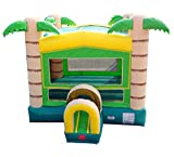 Tropical Bounce House, 14-Foot Long by 13-Foot Wide by 15-Foot Tall with Tunnel Entrance, Modular Inflatable Commercial Backyard Bouncer, Includes 1.0 HP Blower and Stakes