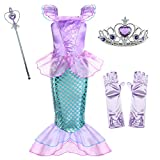 Little Mermaid Princess Ariel Costume for Girls Dress Up Party with Gloves,Crown Mace 4T 5T