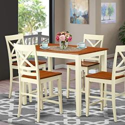 5 Pc counter height Table and chair set – high Table and 4 Kitchen Chairs.