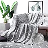 MoMA 100% Cotton Light Grey Cable Knit Throw Blanket for Couch Bed Sofa Chair, Gray White Stripe Reversible Decorative Knitted Blankets,51'x 63' Size